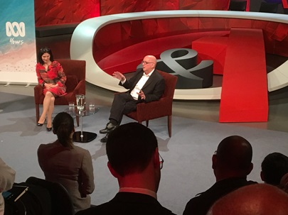 Roy Morgan CEO Michele Levine and Social Scientist Dr. Ross Honeywill speak about Trust & Distrust at ABCTV's Qanda studio in Sydney - Thursday August 30, 2018