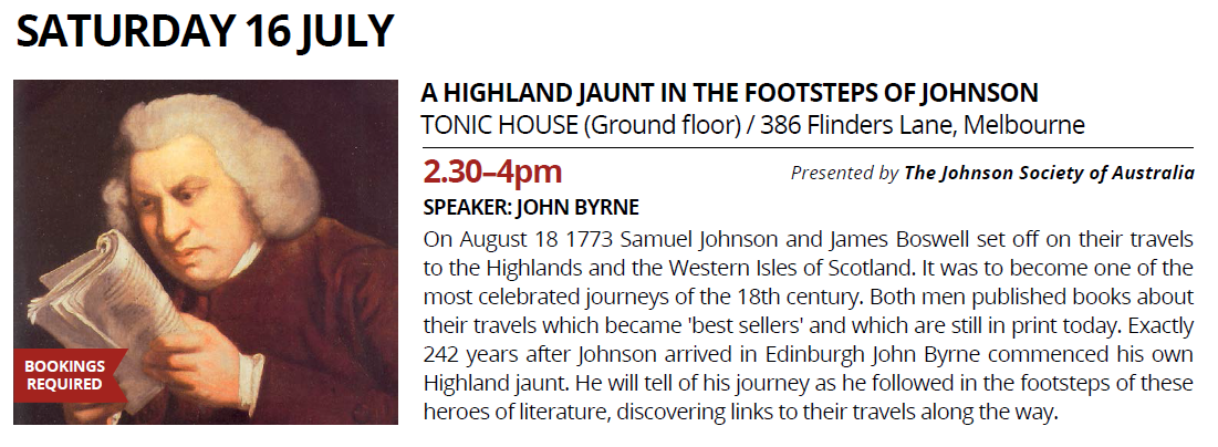 Melbourne Rare Book Week: A Highland Jaunt in the Footsteps of Johnson - Saturday July 16, 2016